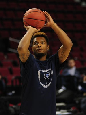 Georgetown Hoyas guard D'Vauntes Smith-Rivera (4) shoots the basketball during practice before the second round of the 2015 NCAA Tournament at Moda Center.