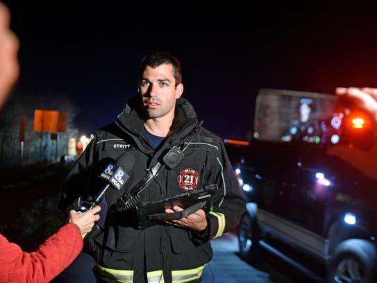 Hellam Fire Company Chief Eric Strittmatter speaks