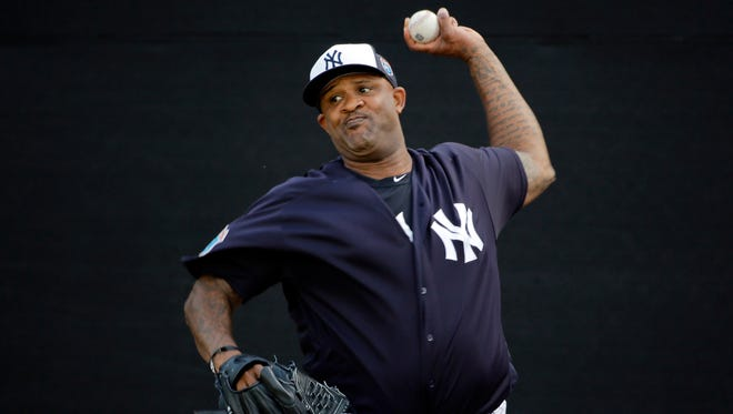 New York Yankees starting pitcher CC Sabathia throws in the bullpen before a spring training baseball game against the St. Louis Cardinals Thursday, March 31, 2016, in Tampa, Fla.
