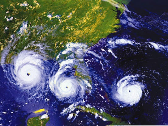 An image of three views of Hurricane Andrew on Aug.