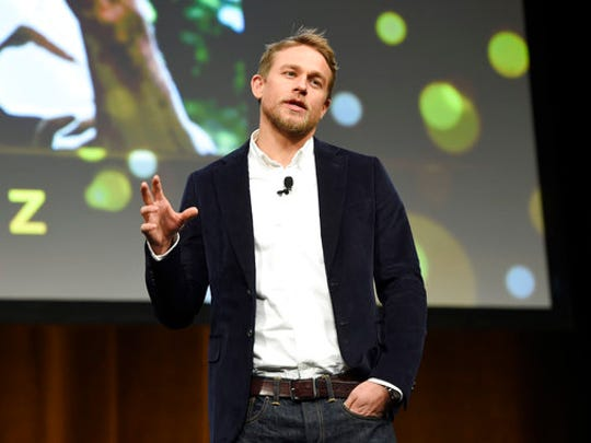 "Charlie Hunnam, a cast member in the upcoming film ""The Lost City of Z,"" discusses the film during the Amazon Studios presentation at CinemaCon 2017 at Caesars Palace on Thursday, March 30, 2017, in Las Vegas."