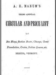 Cover of A.E. Manum's 1880 circular and price list.