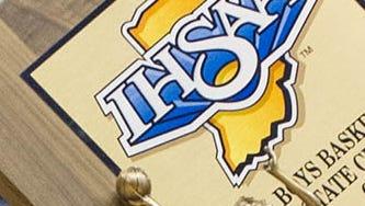 FILE --- IHSAA boys basketball trophy
