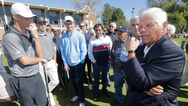 Lee Trevino talks to some of the All-American golfers Friday that are in El Paso this weekend for the 2015 Sun Bowl Western Refining College All-America Classic.