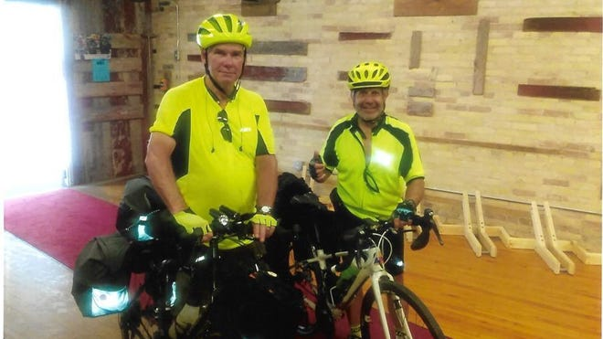 Howard Tompkins, 61, of Lyons (left), and Karam Bassila, 71, of Lansing, biked from Lyons to Wisconsin and then took the SS Badger back to Michigan. They departed on June 15 and returned to Ionia County on June 26.