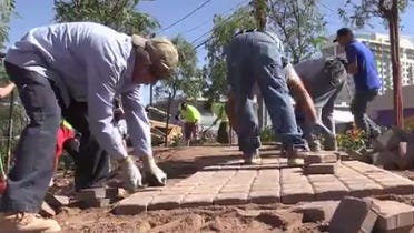 Volunteers built a path that winds through the tupelo trees at the Las Vegas Community Healing Garden as a result of the tragic mass shooting that happened on Oct. 1, 2017