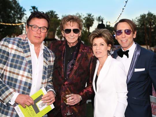 Garry Kief, Barry Manilow, Terri Ketover, and Kevin Bass at a benefit for the AAP - Food Samaritans Palm Springs.