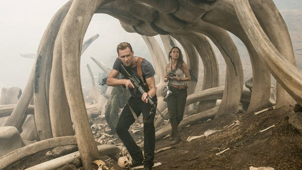 """Tom Hiddleson and Brie Larson in """"Kong: Skull Island."""""""