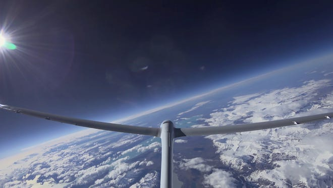 View from the tail of the Airbus Perlan Mission 2, a glider which organizers said set an altitude record soaring to 52,172 feet on Sept. 3, 2017.