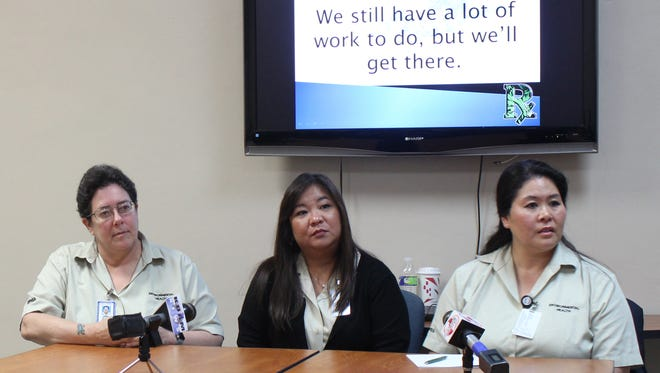 At a June 19 press conference in Mangilao, officials from Guam's public health department present what they learned during a trip to Arizona and California to research medical marijuana laws. From left: Cynthia Naval, planner IV; Michelle Razo Lastimoza, environmental public health officer III; and Rosanna Rabago, environmental public health officer.