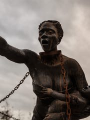 "The National Memorial for Peace and Justice, which opens April 26 in Montgomery, includes a sculpture depicting slaves. ""The first thing they will see is a sculpture on slavery,"" EJI director Bryan Stevenson said of visitors to the memorial. ""We don't have visuals in this country that give people a perspective on the brutality on slavery. That will be a challenge for people."""