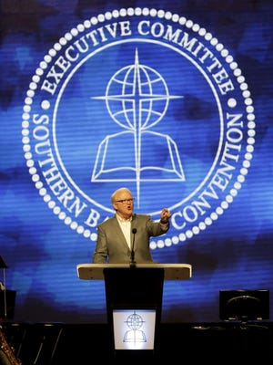 Southern Baptist Executive Committee President Frank S. Page speaks during the Southern Baptist Convention annual meeting.