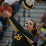 Northeastern's Morghan Foust passes the ball Tuesday, Sept. 1, 2015 during a volleyball match against Richmond in Fountain City.