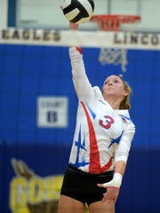 Union County's Madison Rosenberger hits the ball during
