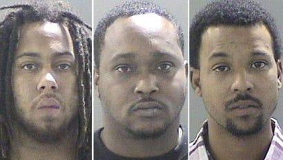 Deyshawn Hollis-James, 21, left, Deonte Hollis, 24, and Christopher Carson, 30.