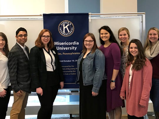 Misericordia University students recently participated in a chartering ceremony with Circle K International District officers. Participating in the event, from left, are district officers Cody Derhammer, district treasurer; Miranda Moses, district secretary; Giancarlo Ponticello, district vice president, and Devyn King, district governor, and Misericordia Circle K International officers Molly Harris, president of Montoursville, Pennsylbania; Morgan Coolbaugh, vice president of Exeter, Pennsylvania; Maggie Kingsbury, secretary of Doylestown, Pennsylvania; Nicole Pychewicz, editor of  Edison; Peyton Porch, vice president of West Milford  and Deanna Mattioli, treasurer of Doylestown, Pennsylvania.