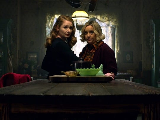 "Miranda Otto as Zelda and Lucy Davis as Hilda on ""Chilling"