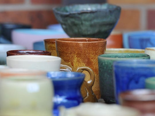 Several ceramic and pottery bowls and cups from Midwestern State University's ceramic department on display in this file photo.