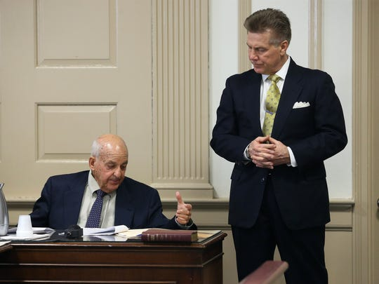 Forensic pathologist Cyril Wecht testifies questioned by defense attorney Edward Bilinkas in Morris County Superior Court. Wecht, nationally known because of his involvement in numerous high-profile assassination cases was hired by the defense as an expert witness for the Virginia Vertetis murder trial. Vertetis says she fatally shot boyfriend Patrick Gilhuley to death as he tried to beat and choke her at her Mount Olive home in 2014. March 27, 2017, Morristown, NJ