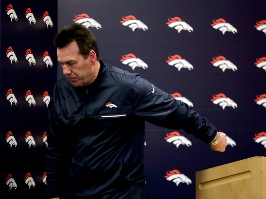 FILE - In this Nov. 27, 2016, file photo, Denver Broncos head coach Gary Kubiak speak after an NFL football game against the Kansas City Chiefs, in Denver. Kubiak insists the incident was an emotional, heat-of-the-moment thing, but Aqib Talib's shove of Jordan Norwood after the returner's second muffed punt last weekend might foretell fractures in the Broncos locker room. The Broncos take on the Jacksonville Jaguars on Sunday in Jacksonville. (AP Photo/Jack Dempsey, File)