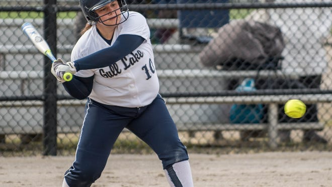 Gull Lake's Shelby Martell gets a base hit during the Gull Lake Invitational on Saturday.