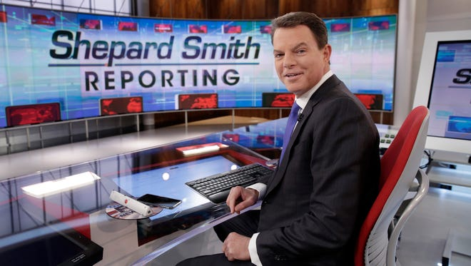 """In this Jan. 30, 2017 photo, Fox News Channel chief news anchor Shepard Smith on The Fox News Deck before his """"Shepard Smith Reporting"""" program, in New York."""