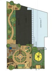 This rendering shows the planned playground and garden