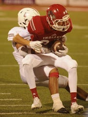 Sonora's Jarrett Jackson tackles Jim Ned's Cade Ford