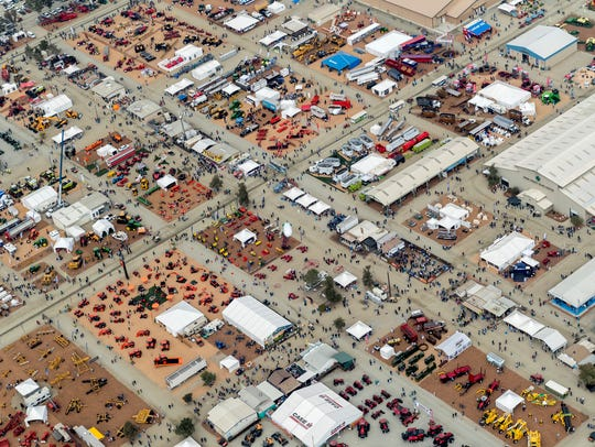 Aerial view of World Ag Expo at the International Agri-Center