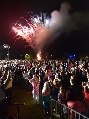 Fireworks light up the sky after Donald Trump speaks at the amphitheater at Maritime Park.