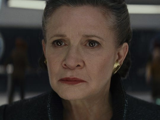 Carrie Fisher reprises her role as General Leia in