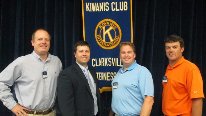 The Kiwanis Club elected new officers Tuesday (from left) Past President Phillip Tucker, President Binkley, First Vice-President Dan Black and Second Vice-President Lance Morgan.