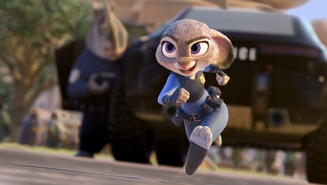 "Bunny cop Judy Hopps (voice of Ginnifer Goodwin) is on the case in Disney's ""Zootopia."""