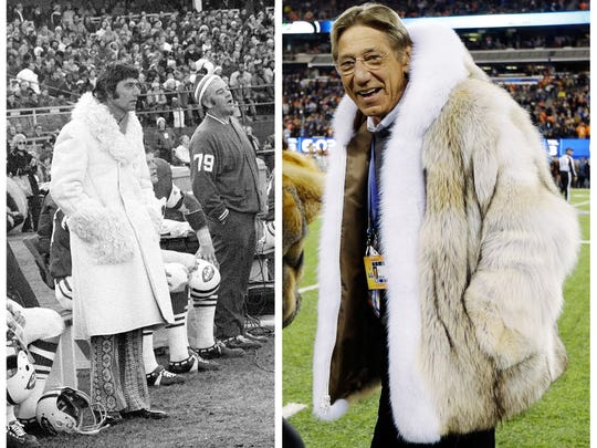 This combo photo shows former New York Jets quarterback ?Broadway? Joe Namath, wearing a long white fur coat on the sidelines in 1971, left, and on the field at Super Bowl XLVIII  Sunday, Feb. 2, 2014. (AP Photo)