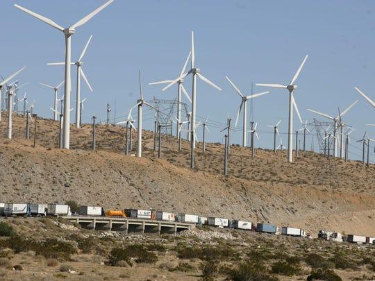 Wind turbines generate electricity near Palm Springs.
