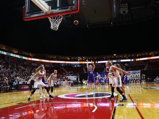 Indianola senior Grace Berg shoots a freethrow. Seventh-seeded