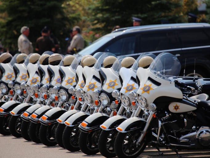 Michigan  State Troopers bikes are lined up outside