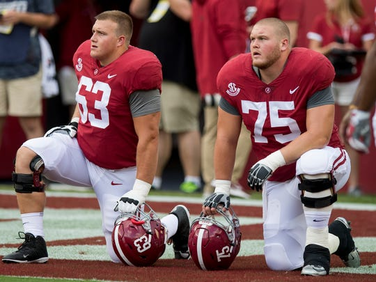 Alabama offensive linemen J.C. Hassenauer (63) and Bradley Bozeman (75) before the Colorado State game at Bryant-Denny Stadium in Tuscaloosa, Ala., on Saturday September 16, 2017.(Mickey Welsh / Montgomery Advertiser)