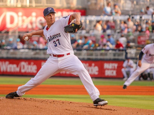 Blue Wahoos starting pitcher Homer Bailey, on rehab