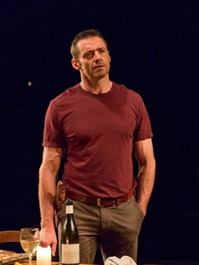 """This photo provided by Boneau/Bryan-Brown shows Hugh Jackman as The Man in """"The River,"""" a new play by Jez Butterworth, directed by Ian Rickson, at Circle in the Square Theatre in New York."""