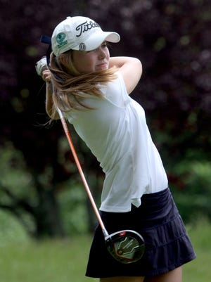 Caroline Hodge of Ursuline tees off on the 16th hole during the Section 1 girls golf tournament at Whippoorwill Country Club in Armonk May 24, 2017.