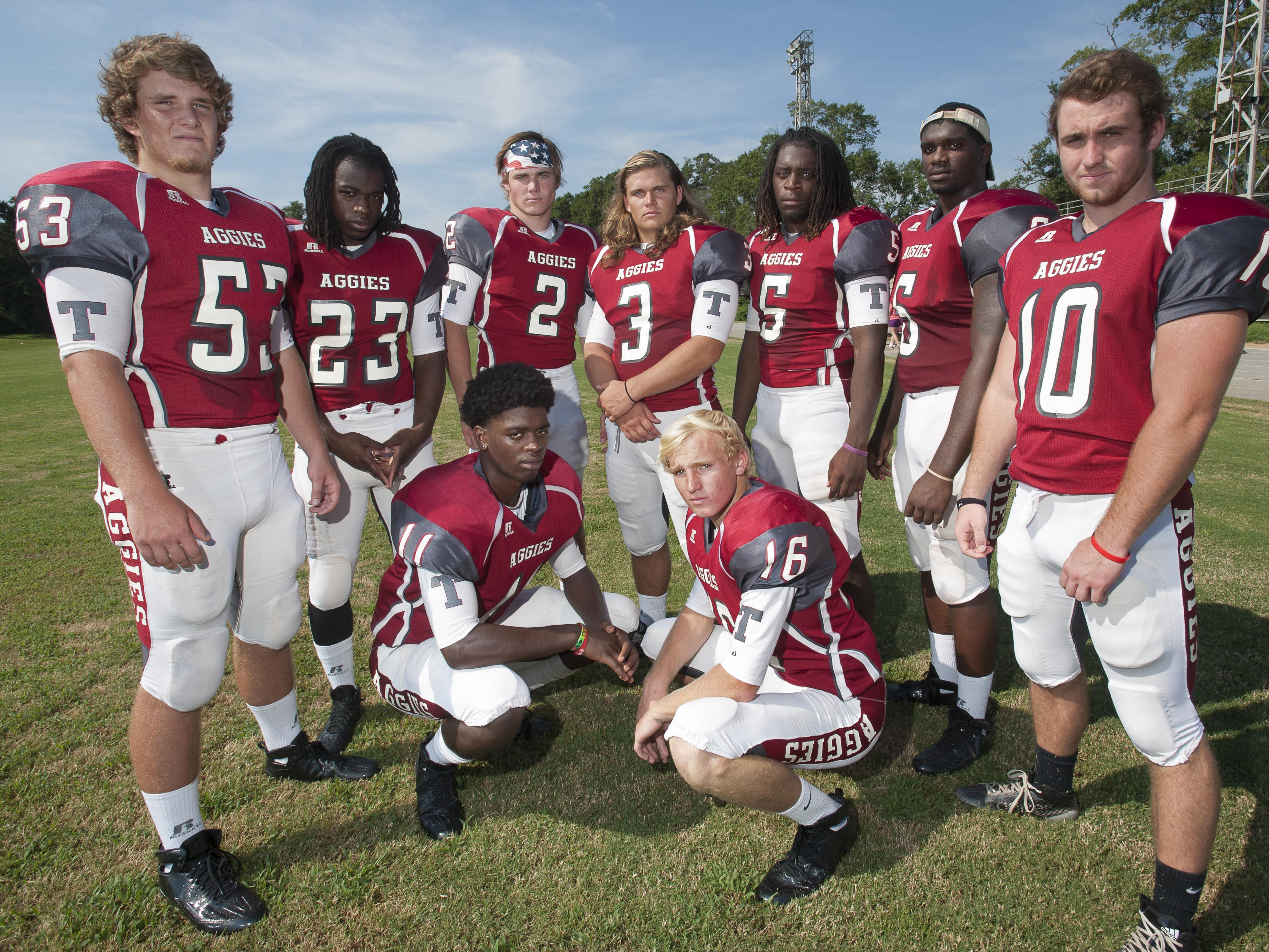 Tate High School will find its strength in its returning players (from left): Gaven McAnally (53), Alondo Thompkins (23), Reggie Payne (11), Sawyer Smith (2), Dallas Ditto (3), Jake Henry (16), Alonte Thompson (5), Dee Thompson (6), and Trace Penton (10).