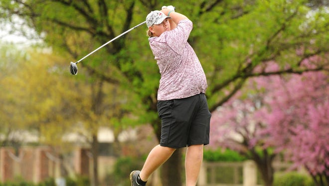 Brownwood's Jaryn Pruitt tees off during the first District 5-4A round at the Abilene Country Club's Fairway Oaks course.