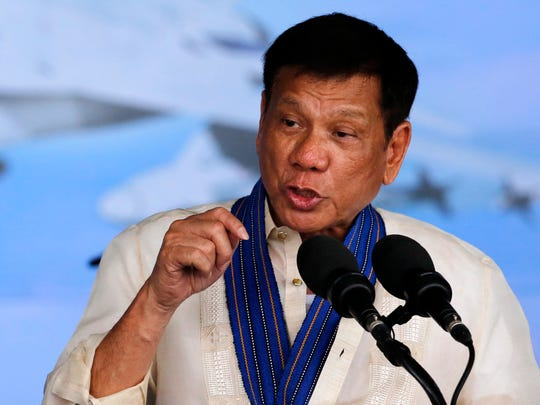 Philippines President Rodrigo Duterte speaks at  a