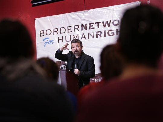 Border Network for Human Rights Executive Director Fernado Garcia speaks to immigrant about what to do if they're stopped and questioned by law enforcement.