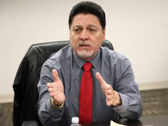 John Carrillo, candidate for the 16th Congressional District Seat, speaks to the El Paso Times Advisory Board.