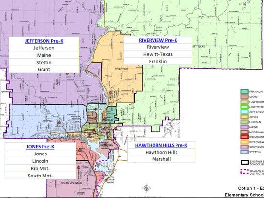 A map of the 2016-17 boundaries for the Wausau School District's 4K academies.