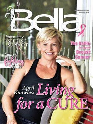 Bella October's front cover model: April Knowles. breast cancer survivor.
