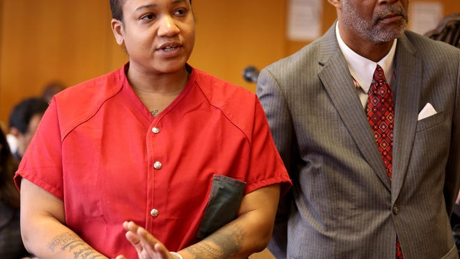 Mitchelle Blair appears in court June 19, 2015, before Judge Kenneth J. King in his courtroom at Frank Murphy Hall of Justice in Detroit.
