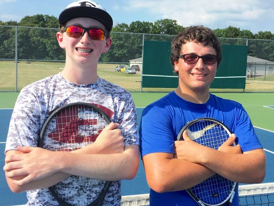 Among the key South Lyon East tennis returnees include Carson Swadling (left) and A.J. Clark (right).